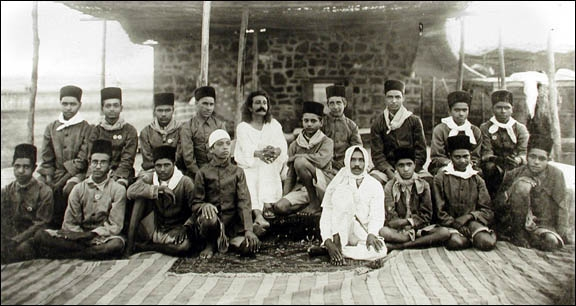 Baba with ashram boys