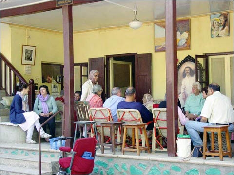 Informal gathering on Mehera's Porch